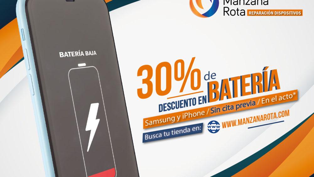 30% descuento en baterías Samsung y iPhone